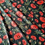 Werthers Stoffe Stoff Meterware Baumwolle Mohn Mohnblüten Blume Rot Anthrazit Dekostoff Vorhangstoff Fotodruck