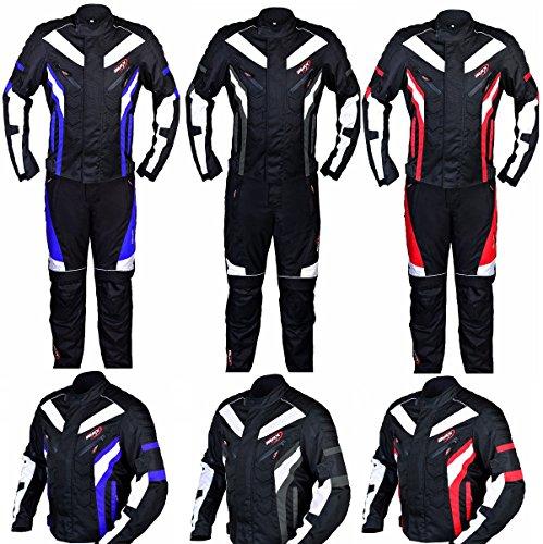 Motorrad passt maxfive Adventure Motorrad Racing Sport Touring CE und geprüft neuen besten Qualität Jacken mit Hose 2-teiliger Anzug Bike rot blau weiß (Street Bike Jacken Damen)