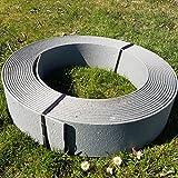 Stabile Rasenkante Beetumrandung Beeteinfassung Mähkante Profilkante Rakaflex (ca. 14 cm hoch x 25 m lang, Grau)