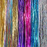 "102 cm (40 "") les cheveux clinquant 210 brins, sept couleurs (argent scintillant, pourpre, arc en ciel, rose chaud, or, or blanc, bleu) // 102 cm (40"") Hair Tinsel 210 Strands, Seven Colors (Sparkling Silver, Purple, Rainbow, Hot Pink, Gold, White Gold, Blue)"