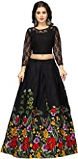 Nena Fashion Women's Satin Lehanga Choli (multi green _Multicolor_ Free Size)