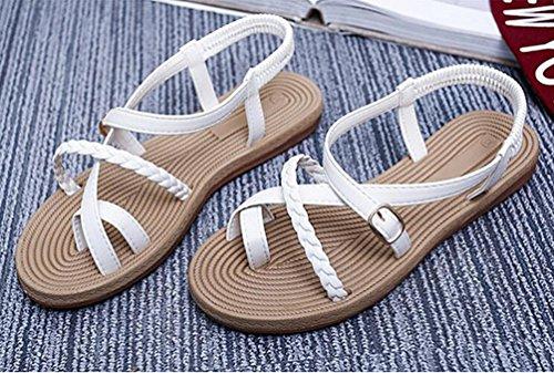 YOUJIA Casual Clip Toe Bohemia Sandales Été Plat Boucle Peep-Toe Chaussures Sandales Roman pour Femmes Blanc