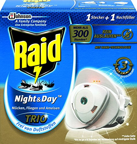 Raid (Paral) Night & Day Trio Insekten-Stecker Starter-Kit (inkl. Nachfüller), Zum Schutz vor fliegenden und kriechenden Insekten bei Tag und Nacht, Bis zu 300 Stunden,, 1er Pack (1 x 1 Stück) -