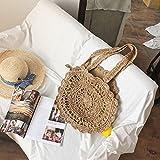 onemoret Bohemian Stroh Taschen für Frauen Big Circle Strand Handtaschen Sommer Vintage Rattan Tasche handgefertigt Kintted Travel Bags braun