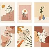 6 pcs Tableau Décoration Murale, 21*30cm Kit de Poster Affiche Peinture Art Décoratif Vintage Tableau Décoration Murale Abstr