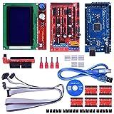 Quimat Kit de Impresora 3D Compatible con Proyectos Ardui-IDE/Mega 2560 + RAMPS 1.4 + A4988 Controlador de Motor Pasos + LCD 12864