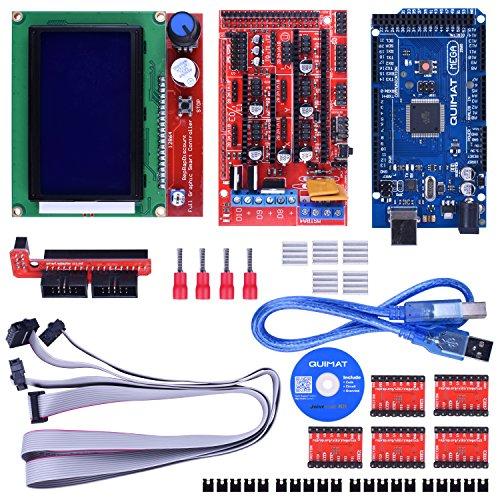Quimat 3D Printer Drucker Controller Kit für Arduino Mega 2560 Starter Kits + RAMPS 1.4 + 5pcs A4988 Schrittmotor Treiber + LCD Display 12864 für Arduino Reprap QK17 (Drucker-treiber)