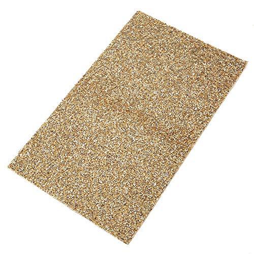 Spray Gold Trim (HEEPDD Strass Blatt, Diamant Mesh Wrap Kunststoff Heißsiegel Kleber Strass Applikation für DIY Auto Schuhe Dekoration(Golden))