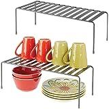 mDesign Set da 2 Mensole porta piatti per la cucina – Ripiano antiscivolo in metallo – Grande scolapiatti da appoggio per taz
