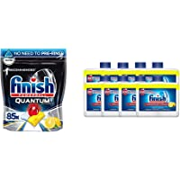 Finish Quantum Ultimate Dishwasher Lemon Scent, Pack of 85 Tablets & Dishwasher Cleaner LEMON, Pack of 8
