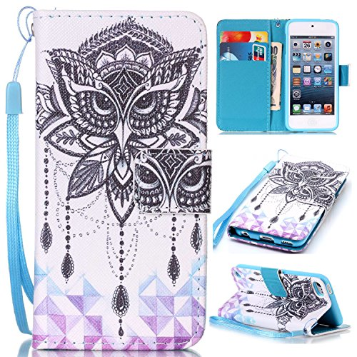 Price comparison product image For Apple iPod Touch 5 / 6 Leather Flip Case Cover, Ecoway Colorful Painted PU Leather Stand Function Protective Cases Covers with Card Slot Holder Wallet Book Design, Soft TPU Silicone Inner Bumper Full Protection Detachable Hand Strap for Apple iPod Touch 5 / 6 - Eagle wind chimes