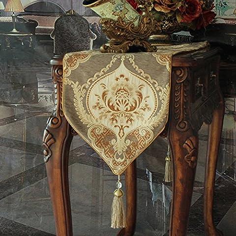 Europäische Tischläufer,Mode American Village Luxus Dekorative Esstisch Couchtisch,Bett-revolver Bett Handtuch-L 35x220cm(14x87inch)