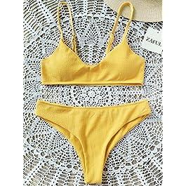 ZAFUL Set Bikini Bralette Push-Up Imbottito con Spalline Sottili Regolabile Tinta Unita Due Pezzi
