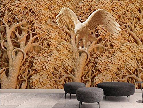 Art_wall_mural 3D Tapete Wallpaper Stereoskopischen 3D-Tree Eagle 3D Wandbild Tapeten Fernseher Sofa Hintergrund Wand Wohnzimmer 3D Wallpaper Wandmalereien Wandmalerei Fresko Mural 300cmX220cm -