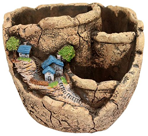 Maceta creativa de hadas para plantas y jardín con soportes, de la marca Horbous, para suculentas, para plantas artificiales