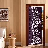ZHANGQI Adesivo Porta Adesivo Per Porta 3D Creativo Stile Mediorientale Vite Floreale Adesivi Decorativi Da Parete DIY Rimovibile Carta Da Parati Autoadesiva Impermeabile PVC,77 * 200cm