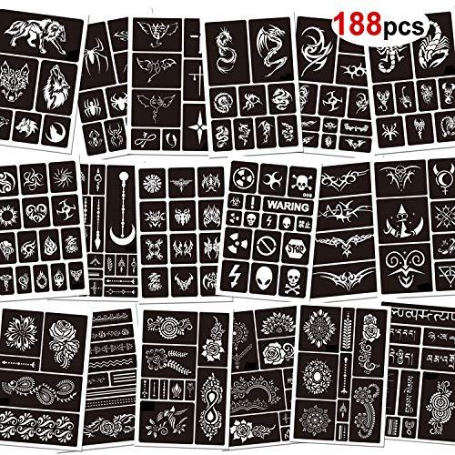 Konsait 188 Pezzi Tatuaggi temporanei Stencil, 18 Fogli Glitter Tattoo Stencil autoadesivi per Bambini Adulti Donna Uomo, Riutilizzabili Stencil per Temporanei Tatuaggi Corpo Vernice Halloween