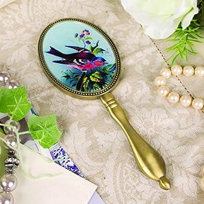 Dressing Table Hand Mirror - Bird Design, Gold