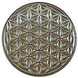 EnerChrom Unisex Blume des Lebens Neodym-Magnet-Pin - Metall-Kleider-Button - Farbe Silber - Ø 2,3 cm