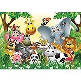 Fototapete 300x210 cm - ALLE TOPSELLER auf einen Blick ! Vlies PREMIUM PLUS - JUNGLE ANIMALS PARTY - Kinderzimmer Kindertapete Dschungel Zoo Tiere Giraffe Löwe Affe - no. 013 Vergleich