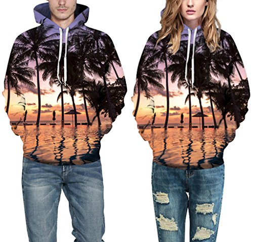 Pretty321 Women Girl Scenery Print Unisex Hoodie Sweatshirt w/ Pocket Collection Seaside Palm Tree