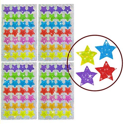 Oblique Unique® - 112 x Glitzer Sticker Sterne bunt - Regenbogen Sticker für Kinder -