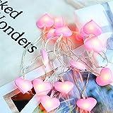 ELINKUME LED Herz Lichterkette-3M 20 rote Herzen, Batteriebetrieben, Warmweiß Stimmungslichter für Weihnachten, Hochzeit, Party, Zuhause sowie Garten, Balkon, Terrasse, Fenster, Treppe, Bar