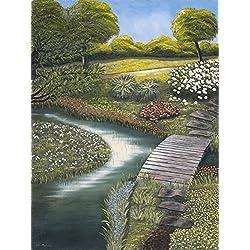"""Original- Ölbild auf Malkarton """" Gartenlandschaft"""", Öl auf Karton, 60cm x 80 cm"""
