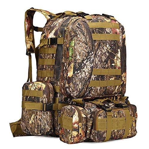 LF&F Backpack Tifosi militari camuffamento stoffa impermeabile di Oxford zaino tattico dello zaino militare sacchetto di campeggio degli uomini zaino all'aperto zaino combinato da escursioneM56L