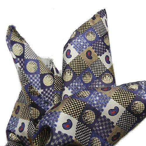 Avantgarde - Man Handkerchief Silk Seda Blu Pochette da Taschino Uomo Seta Stampata M Italy, Colore: Blu