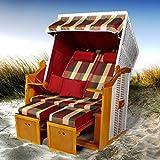 Strandkorb Flexi Incl. Bezüge Verschiedene Modelle Volllieger Gartenliege Sonneninsel Poly-Rattan XXL Grundmodell Rot+ Bezug Rot-Beige-grün-Karo