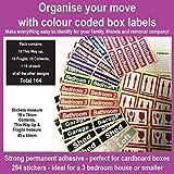 164 Zimmer Etiketten für Umzug - farbcodierter Kiste Etiketten / Aufkleber - Ordnen von ihr Haus Umzug