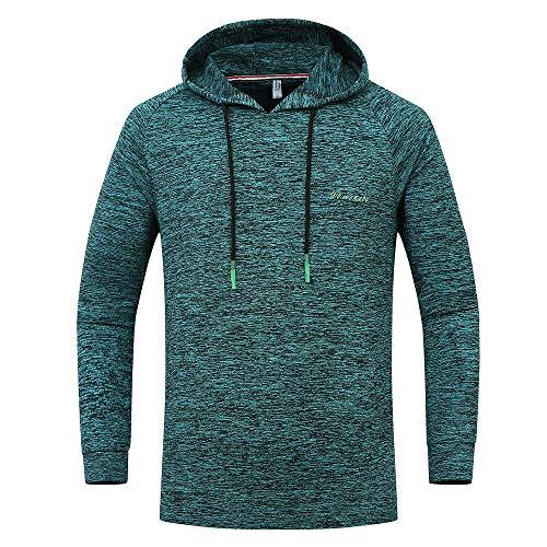 SHINEHUA Herren Basic Kapuzenpullover, Herren Große Hoodie Sport im Freien Schnell trocknend Sweatershirt Top Bluse Pullover Hoodie Jacke Sweatjacke Sweatshirt Sweater (Grün,L)