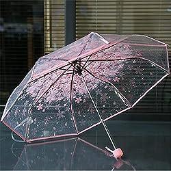 Joyfeel buy Pliable Parapluie Motif Cerise Parapluie Transparent Parapluie Voyage Parapluie pour Les Femmes Fille Homme