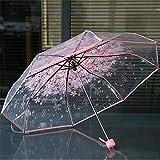 0274ff9286 Westeng, ombrello pieghevole da viaggio anti UV, protegge da pioggia e  sole, motivo floreale, trasparente, leggero, Pink, Compatto**