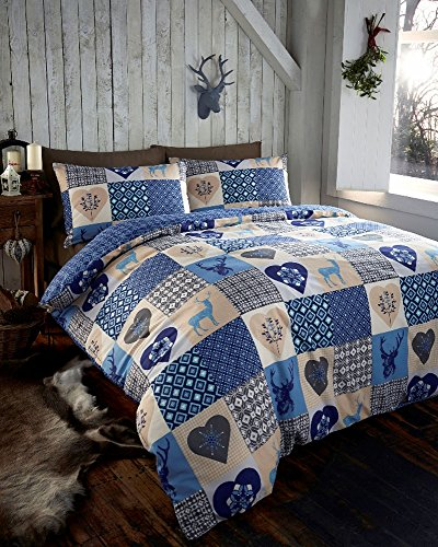 DUVET COVER SET – Blue Stag/heart printed patchwork quilt cover bed set (Double)