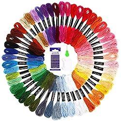 SOLEDI Stickgarn Embroidery Floss multifarben weicher Baumwolle perfekt fürBracelets Stickerei Basteln Crafts Set Basteln Leisure Arts Kreuzstich 8m 6-fädig Threads Nähgarne Häkeln (50 Farben)