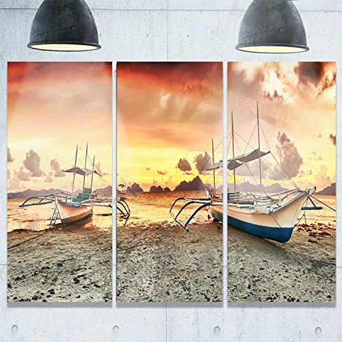 Design Art Boote bei Sonnenuntergang Seashore Fotografie Metall Wand Kunst, (3), gelb, 91,4x 71,1cm