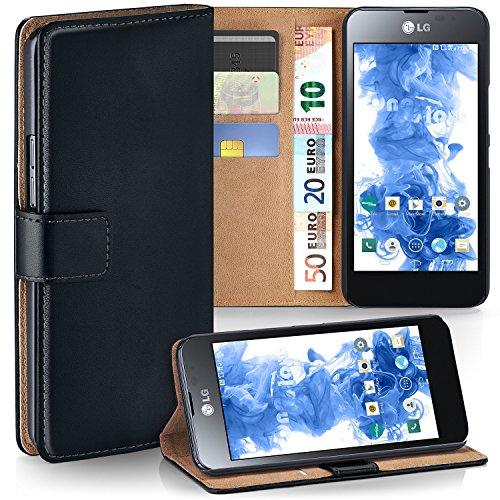 LG P875 Optimus F5 Hülle Schwarz mit Karten-Fach [OneFlow 360° Book Klapp-Hülle] Handytasche Kunst-Leder Handyhülle für LG Optimus F5 Case Flip Cover Schutzhülle Tasche Lg Optimus Hülle