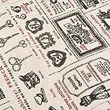 Leinen-Stoff aus Baumwolle Retro Boutique Nägel für