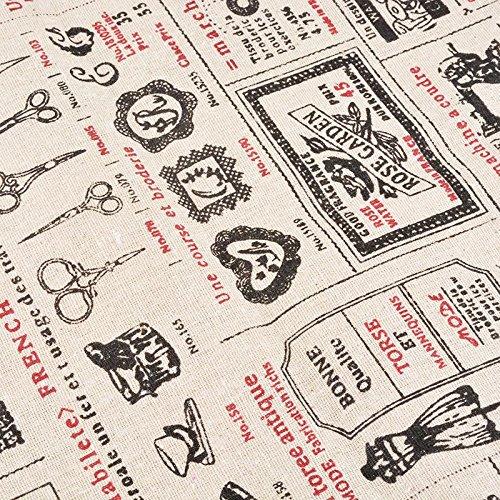 Foto de Tela de algodon retro de lino boutique para tapizar sillas descalzadoras para manualidades, costura cojines guirnaldas caravanas escaparates cortinas 1 m x 50 cm .de OPEN BUY