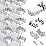 Profilé Aluminium LED - 10x1mètre Aluminium Profilé U-forme pour Bandes à LED, Compact Finition Professionnelle avec Blanc La