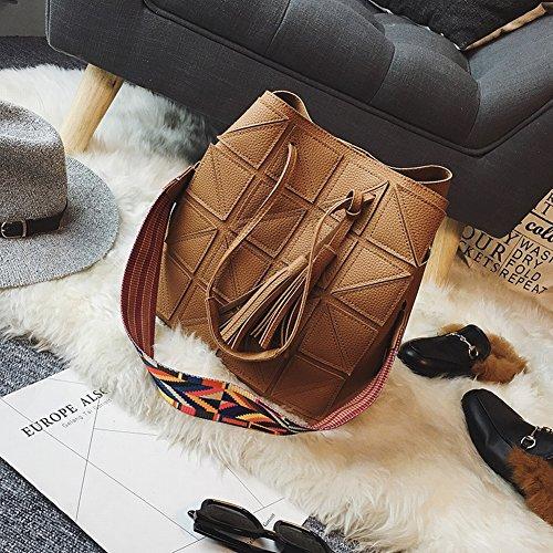 Frauen Anzüge Mode Quaste Eimer Bestickt Rippen Quadrat Band Schulter Messenger Bag , braun -