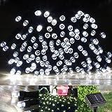 Gearmax® LED Solar Lichterkette Solarlichterkette, 17 Meter, Wasserdicht, 100 LEDs, 1,2V, tragbar, mit Lichtsensor, Außenlichterkette, Weihnachtsbeleuchtung, Beleuchtung für Hochzeit, Party (Kaltweiß)