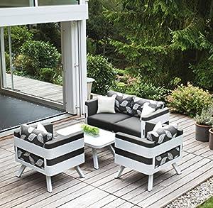 Premium Sitzgruppe ENNA Gartenmoebel Garnitur - Design Gartengruppe ALU 4 Teilig - Stylisch edel von höchster Qualität. Bietet perfekten Komfort mit edlem Design. Ob als Lounge im Freien oder als Sitzgruppe für Drinnen.