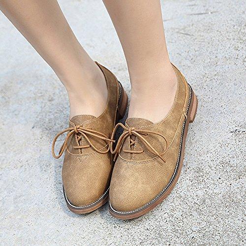 Damen Weich Nubukleder Freizeit Schnürschuhe Blockabsatz Soft Gummi Sohle Atmungsaktiv Low-Top Schuhe Khaki