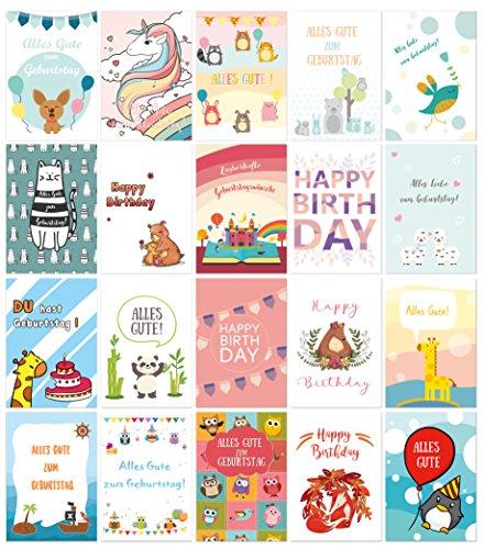 40er-Set Geburtstagskarten mit süßen Motiven inklusive Umschlägen / DIN A6 / Klappkarten / Kindergeburtstagskarten - Von Sophies Kartenwelt