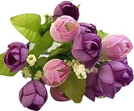 WILLTOO 15 Heads Artificial Rose Silk Fake Flower Leaf Bridal Bouquet