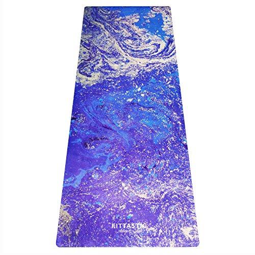 Fittastic All-in-One Yogamatte Rutschfest – Marble Design – 100% Premium Naturkautschuk – schadstofffrei – Studio Fitness-Matte – Gymnastik-Matte – 3,5 mm – 180 x 61 cm (Blue Marble)