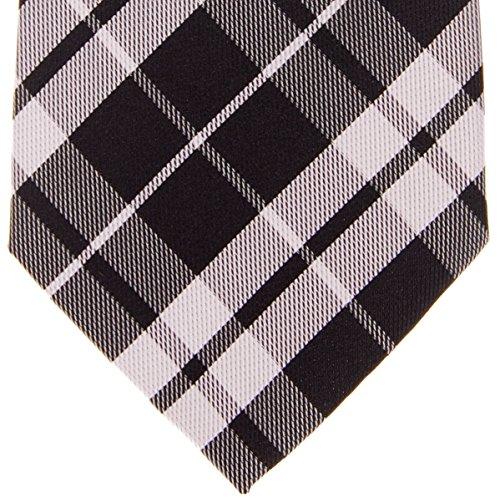 Retreez Carreaux tissé Motif carreaux preppy 8cm de cravate en microfibre–Différentes couleur Noir - Noir